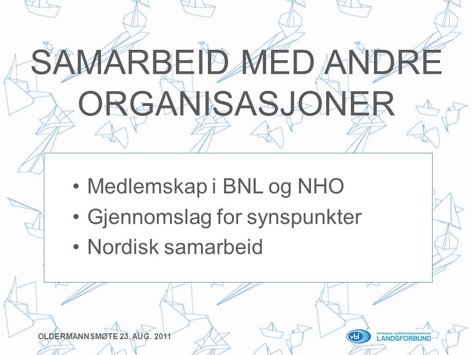 SAMARBEID MED ANDRE ORGANISASJONER •Medlemskap i BNL og NHO •Gjennomslag for synspunkter •Nordisk samarbeid OLDERMANNSMØTE 23.