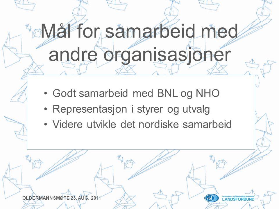 Mål for samarbeid med andre organisasjoner •Godt samarbeid med BNL og NHO •Representasjon i styrer og utvalg •Videre utvikle det nordiske samarbeid OLDERMANNSMØTE 23.