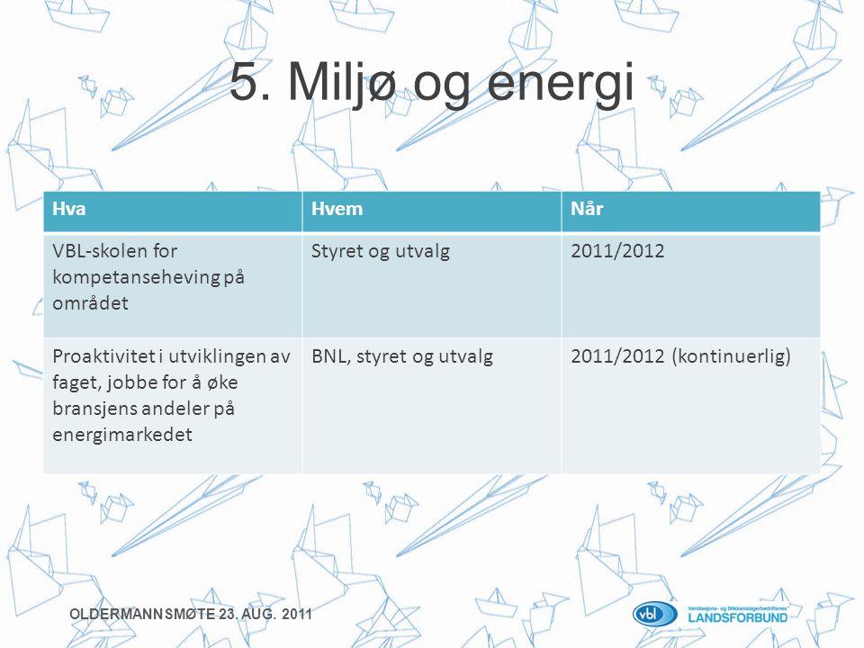 5. Miljø og energi HvaHvemNår VBL-skolen for kompetanseheving på området Styret og utvalg2011/2012 Proaktivitet i utviklingen av faget, jobbe for å øk