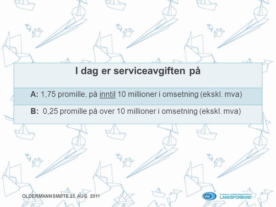 I dag er serviceavgiften på A: 1,75 promille, på inntil 10 millioner i omsetning (ekskl.