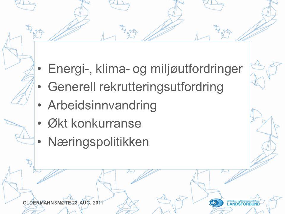•Energi-, klima- og miljøutfordringer •Generell rekrutteringsutfordring •Arbeidsinnvandring •Økt konkurranse •Næringspolitikken OLDERMANNSMØTE 23.