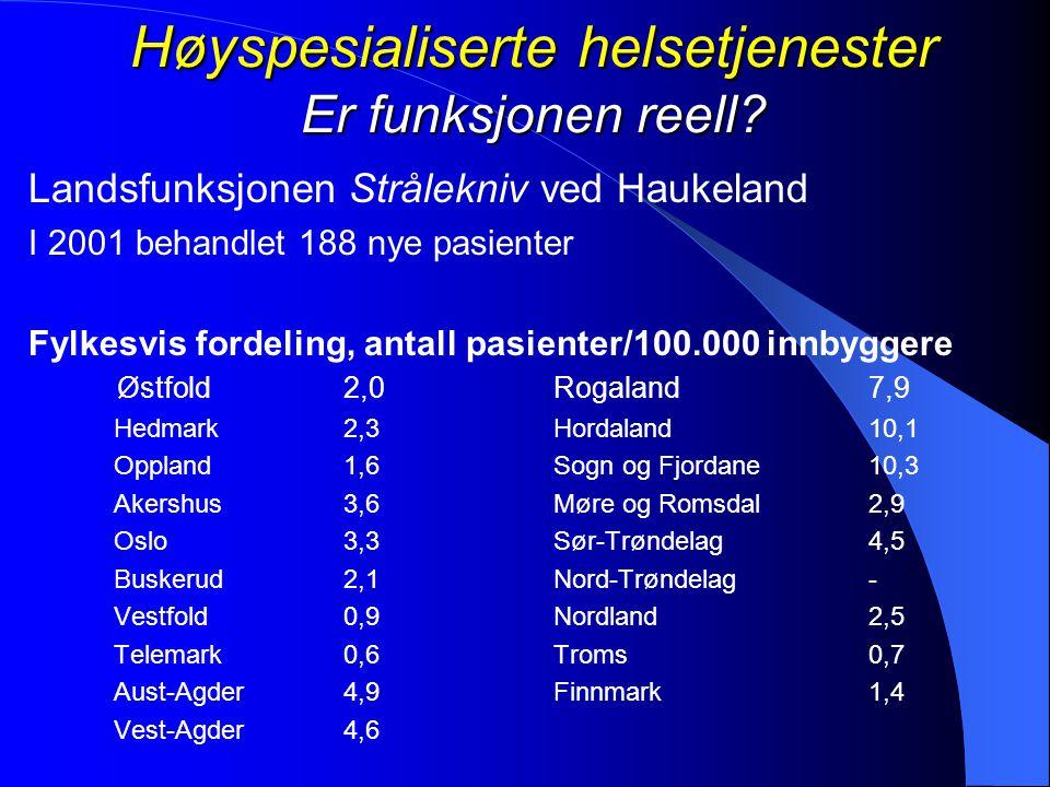 Høyspesialiserte helsetjenester Er funksjonen reell? Landsfunksjonen Strålekniv ved Haukeland I 2001 behandlet 188 nye pasienter Fylkesvis fordeling,