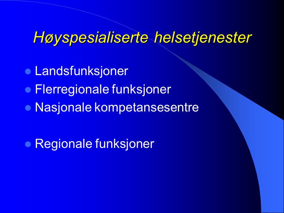 Høyspesialiserte helsetjenester  Landsfunksjoner  Flerregionale funksjoner  Nasjonale kompetansesentre  Regionale funksjoner