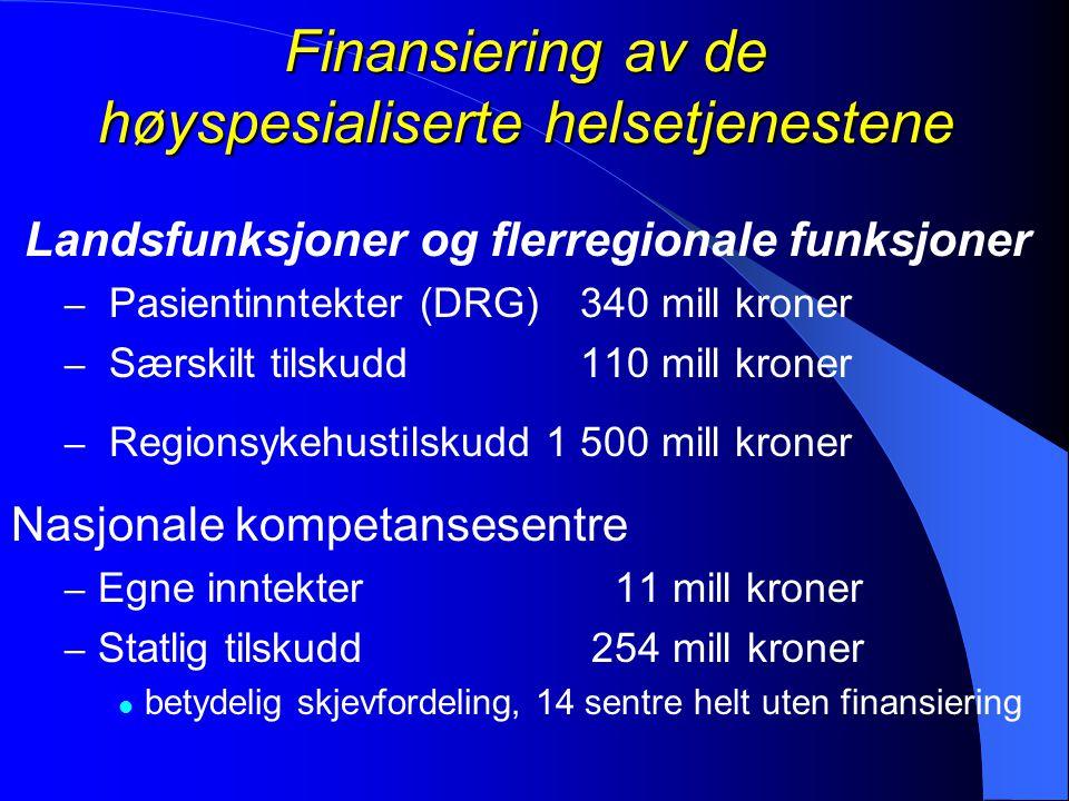 Finansiering av de høyspesialiserte helsetjenestene Landsfunksjoner og flerregionale funksjoner – Pasientinntekter (DRG) 340 mill kroner – Særskilt ti