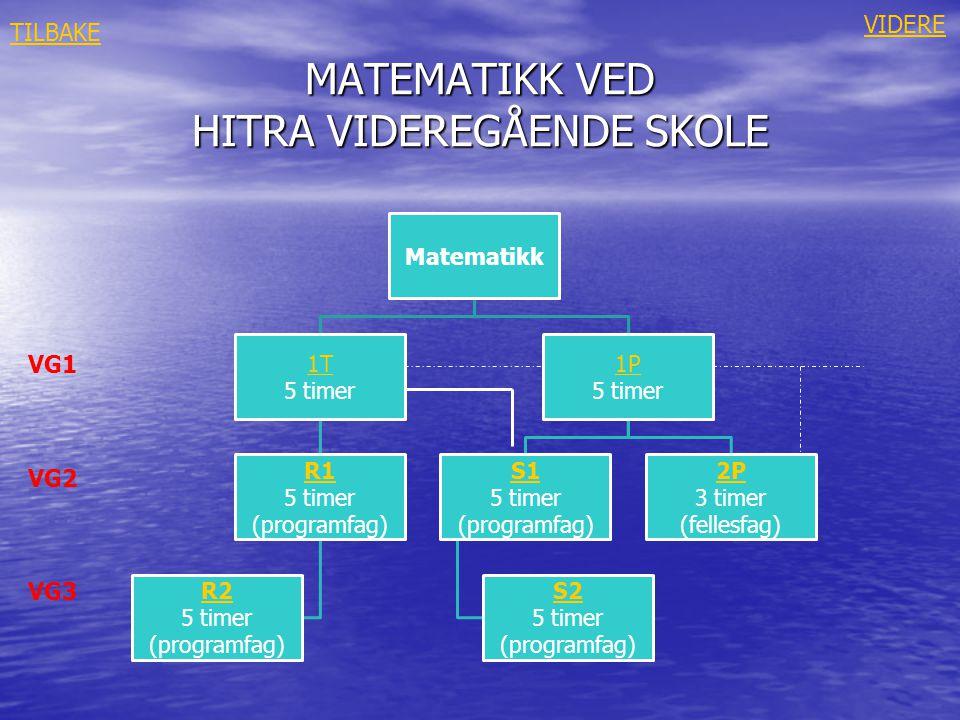 MATEMATIKK 1T MATEMATIKK 1T • Tall og algebra • Likninger og ulikheter av første og andre grad • Kvadratsetninger • Geometri –lengder, areal, Pytagoras –trigonometri • Sannsynlighetsregning • Funksjoner –rette linjer –andregradsfunksjoner –potenser –eksponentialfunksjoner –logaritmer –derivasjon TILBAKE LÆREPLAN I FAGET