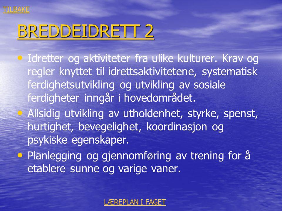 BREDDEIDRETT 2 BREDDEIDRETT 2 • • Idretter og aktiviteter fra ulike kulturer. Krav og regler knyttet til idrettsaktivitetene, systematisk ferdighetsut