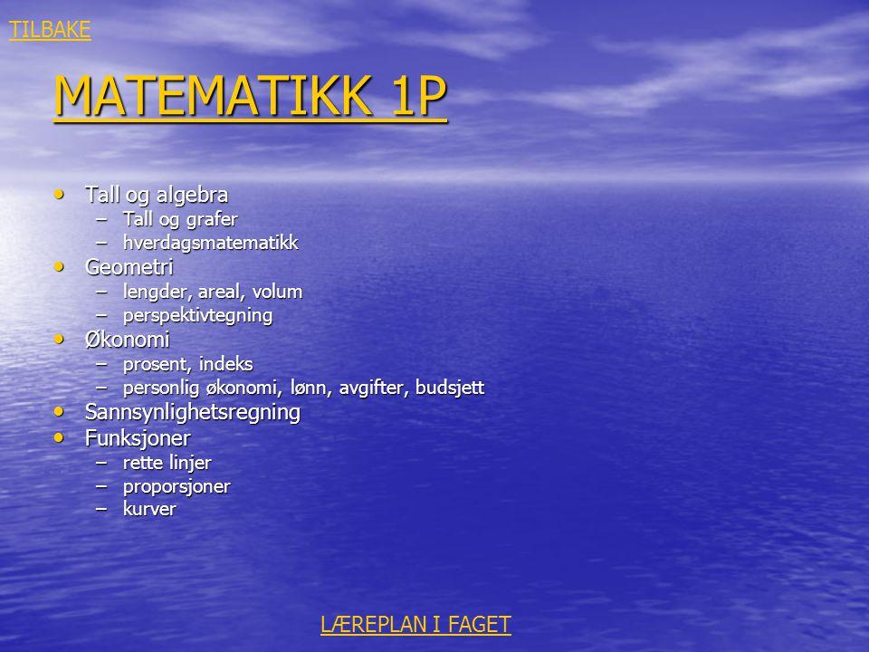 MATEMATIKK 1P MATEMATIKK 1P • Tall og algebra –Tall og grafer –hverdagsmatematikk • Geometri –lengder, areal, volum –perspektivtegning • Økonomi –pros