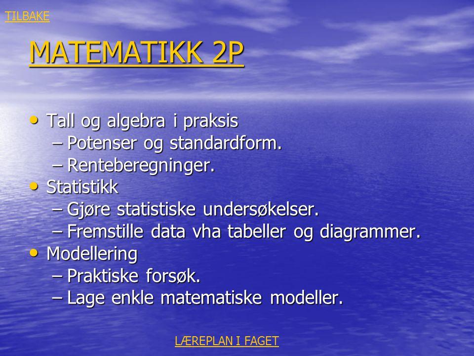 MATEMATIKK 2P MATEMATIKK 2P • Tall og algebra i praksis –Potenser og standardform. –Renteberegninger. • Statistikk –Gjøre statistiske undersøkelser. –