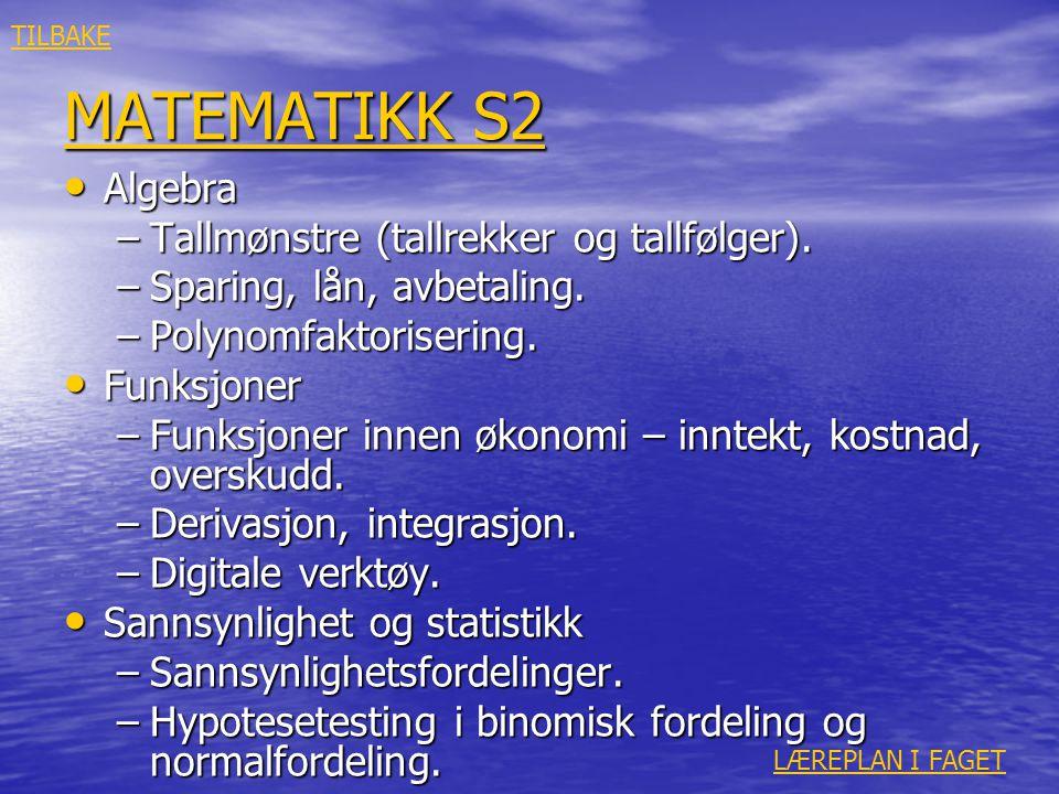 MATEMATIKK S2 MATEMATIKK S2 • Algebra –Tallmønstre (tallrekker og tallfølger). –Sparing, lån, avbetaling. –Polynomfaktorisering. • Funksjoner –Funksjo