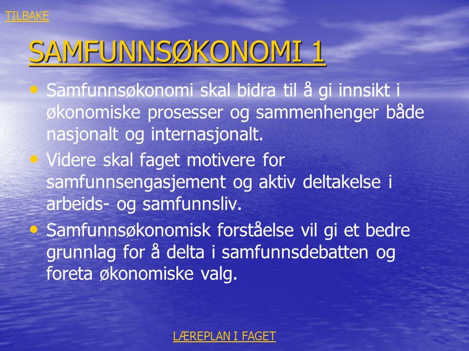 SAMFUNNSØKONOMI 1 SAMFUNNSØKONOMI 1 • • Samfunnsøkonomi skal bidra til å gi innsikt i økonomiske prosesser og sammenhenger både nasjonalt og internasj