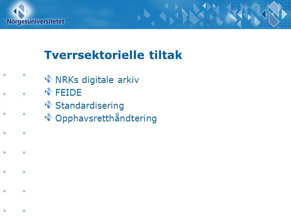 Tverrsektorielle tiltak NRKs digitale arkiv FEIDE Standardisering Opphavsretthåndtering