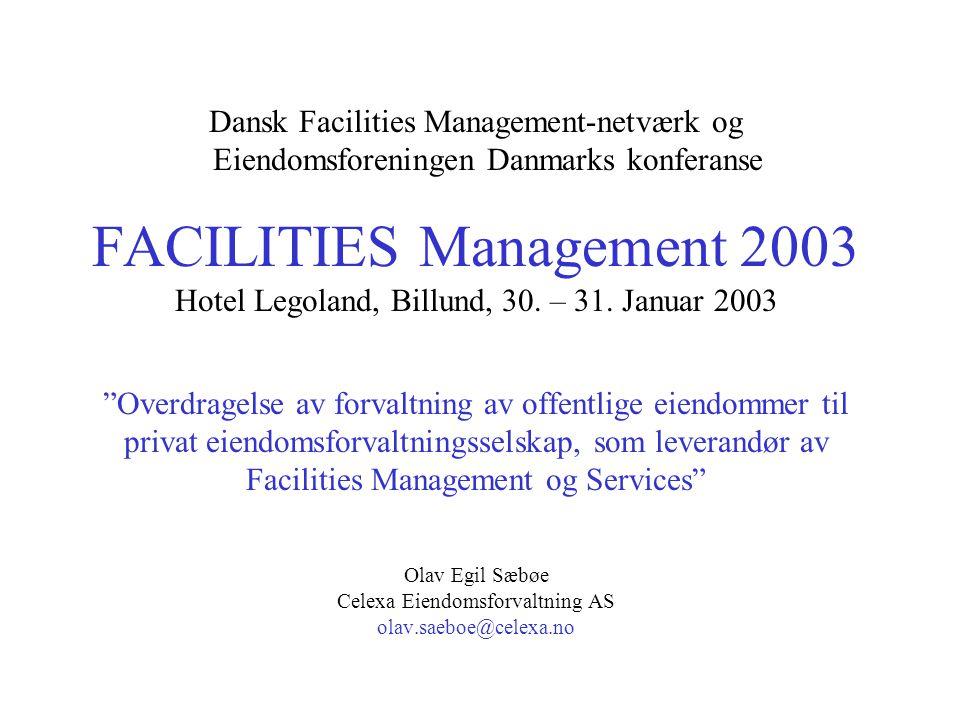 Dansk Facilities Management-netværk og Eiendomsforeningen Danmarks konferanse FACILITIES Management 2003 Hotel Legoland, Billund, 30. – 31. Januar 200