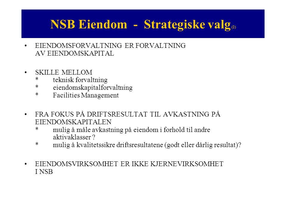 NSB Eiendom - Strategiske valg (2) •EIENDOMSFORVALTNING ER FORVALTNING AV EIENDOMSKAPITAL •SKILLE MELLOM *teknisk forvaltning * eiendomskapitalforvalt