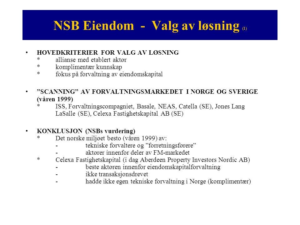 NSB Eiendom - Valg av løsning (1) •HOVEDKRITERIER FOR VALG AV LØSNING *allianse med etablert aktør *komplimentær kunnskap *fokus på forvaltning av eie