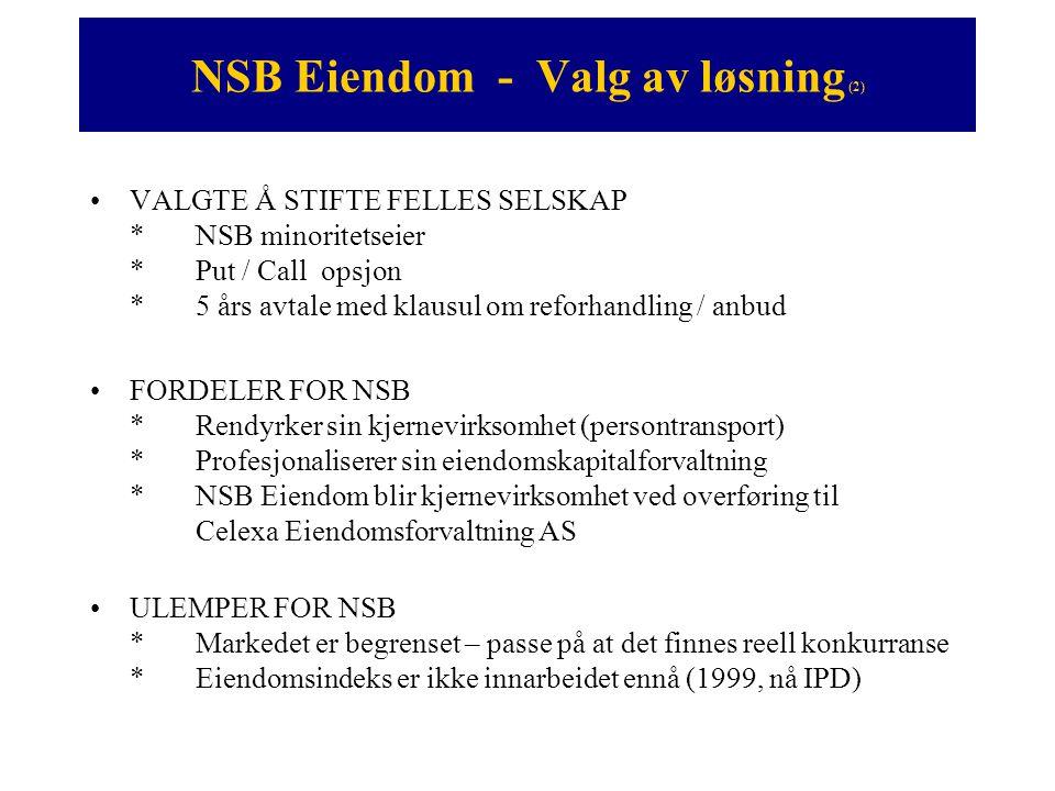 NSB Eiendom - Valg av løsning (2) •VALGTE Å STIFTE FELLES SELSKAP *NSB minoritetseier *Put / Call opsjon *5 års avtale med klausul om reforhandling /