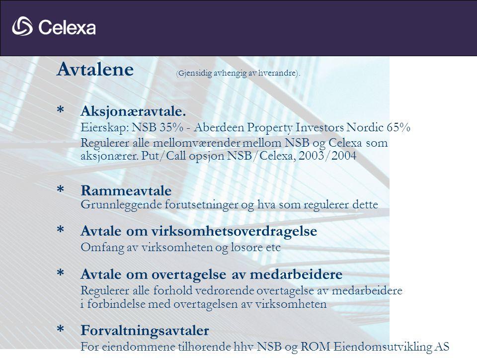 Avtalene (G jensidig avhengig av hverandre). * Aksjonæravtale. Eierskap: NSB 35% - Aberdeen Property Investors Nordic 65% Regulerer alle mellomværende