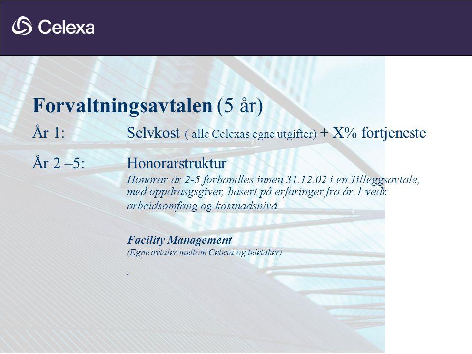 Forvaltningsavtalen (5 år) År 1:Selvkost ( alle Celexas egne utgifter) + X% fortjeneste År 2 –5:Honorarstruktur Honorar år 2-5 forhandles innen 31.12.