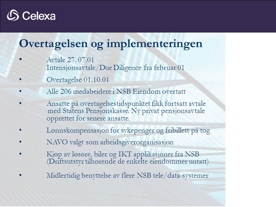 Overtagelsen og implementeringen • Avtale 27. 07.01 Intensjonsavtale/Due Diligence fra februar 01 • Overtagelse 01.10.01 • Alle 206 medabeidere i NSB