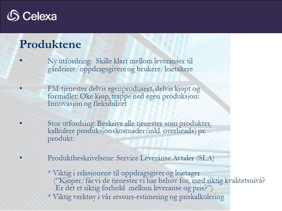 Produktene • Ny utfordring: Skille klart mellom leveranser til gårdeiere/oppdragsgivere og brukere/leietakere • FM-tjenester delvis egenprodusert, del