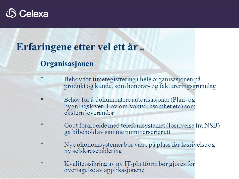 Erfaringene etter vel ett år (6) Organisasjonen * Behov for timeregistrering i hele organisasjonen på produkt og kunde, som honorar- og faktureringsgr