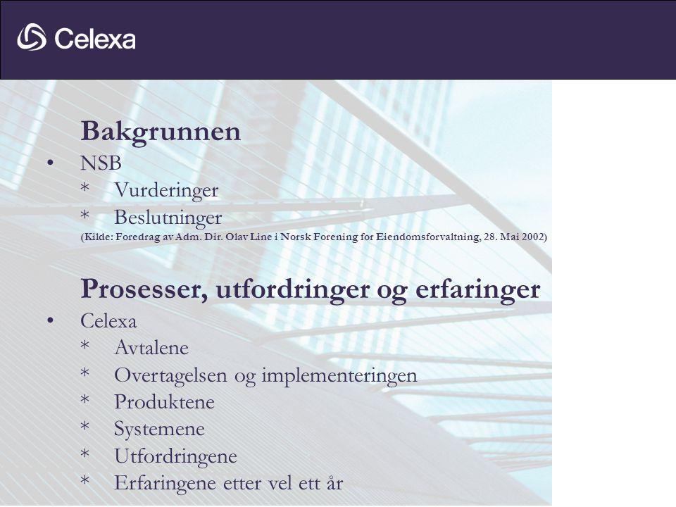 Bakgrunnen •NSB *Vurderinger *Beslutninger (Kilde: Foredrag av Adm. Dir. Olav Line i Norsk Forening for Eiendomsforvaltning, 28. Mai 2002) Prosesser,