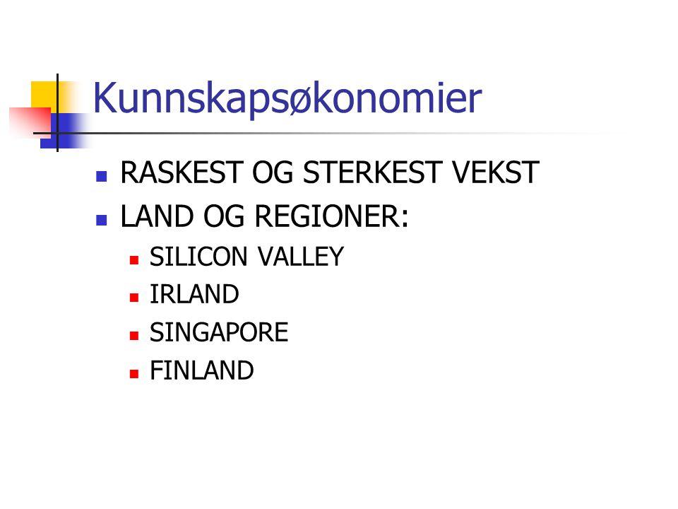 Kunnskapsøkonomier  RASKEST OG STERKEST VEKST  LAND OG REGIONER:  SILICON VALLEY  IRLAND  SINGAPORE  FINLAND