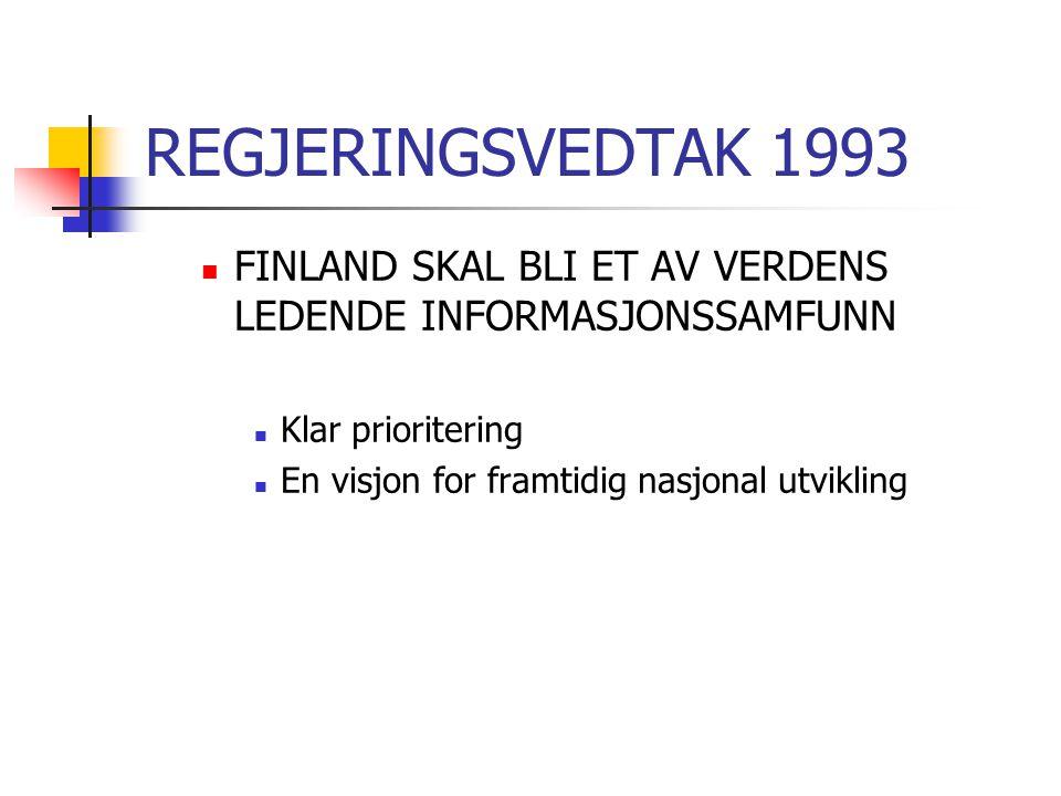 REGJERINGSVEDTAK 1993  FINLAND SKAL BLI ET AV VERDENS LEDENDE INFORMASJONSSAMFUNN  Klar prioritering  En visjon for framtidig nasjonal utvikling