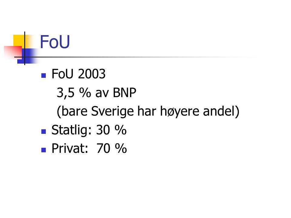 FoU  FoU 2003 3,5 % av BNP (bare Sverige har høyere andel)  Statlig: 30 %  Privat: 70 %