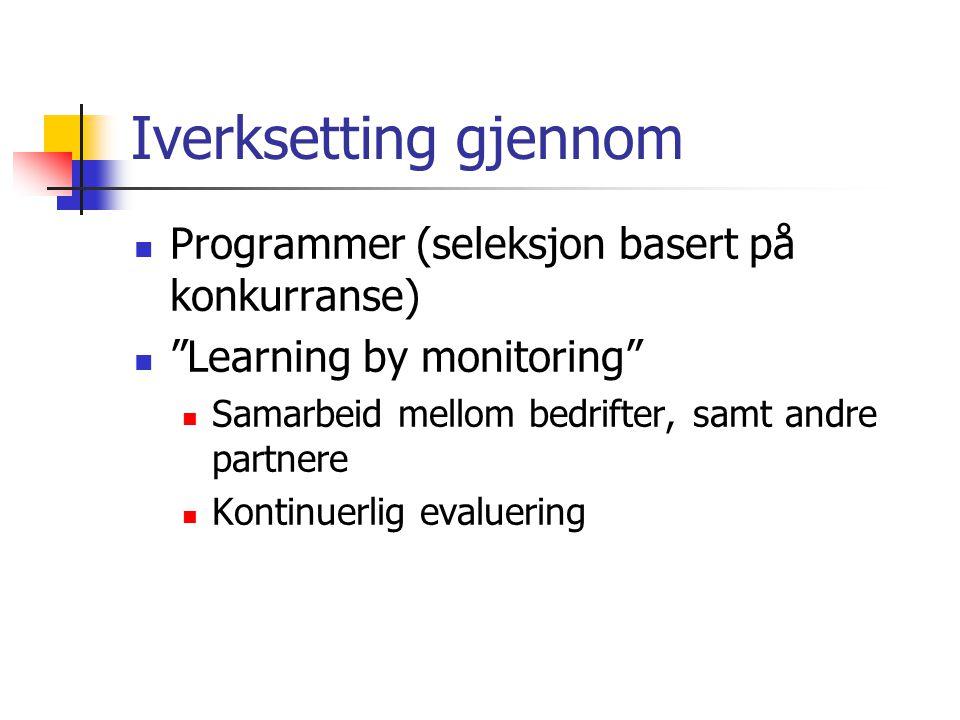 """Iverksetting gjennom  Programmer (seleksjon basert på konkurranse)  """"Learning by monitoring""""  Samarbeid mellom bedrifter, samt andre partnere  Kon"""