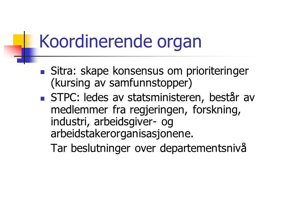 Koordinerende organ  Sitra: skape konsensus om prioriteringer (kursing av samfunnstopper)  STPC: ledes av statsministeren, består av medlemmer fra regjeringen, forskning, industri, arbeidsgiver- og arbeidstakerorganisasjonene.