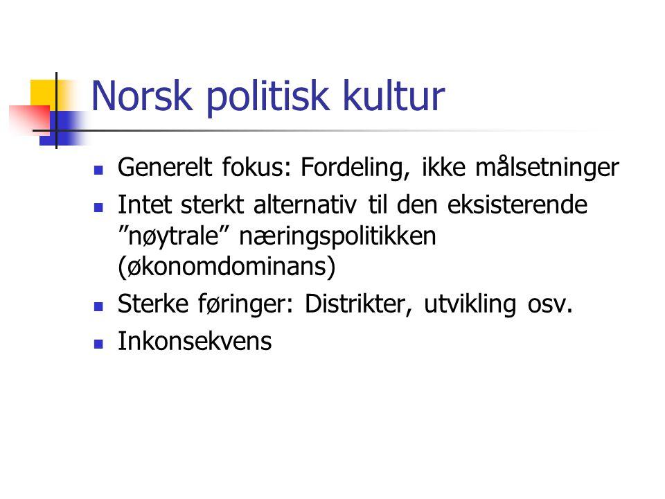Norsk politisk kultur  Generelt fokus: Fordeling, ikke målsetninger  Intet sterkt alternativ til den eksisterende nøytrale næringspolitikken (økonomdominans)  Sterke føringer: Distrikter, utvikling osv.