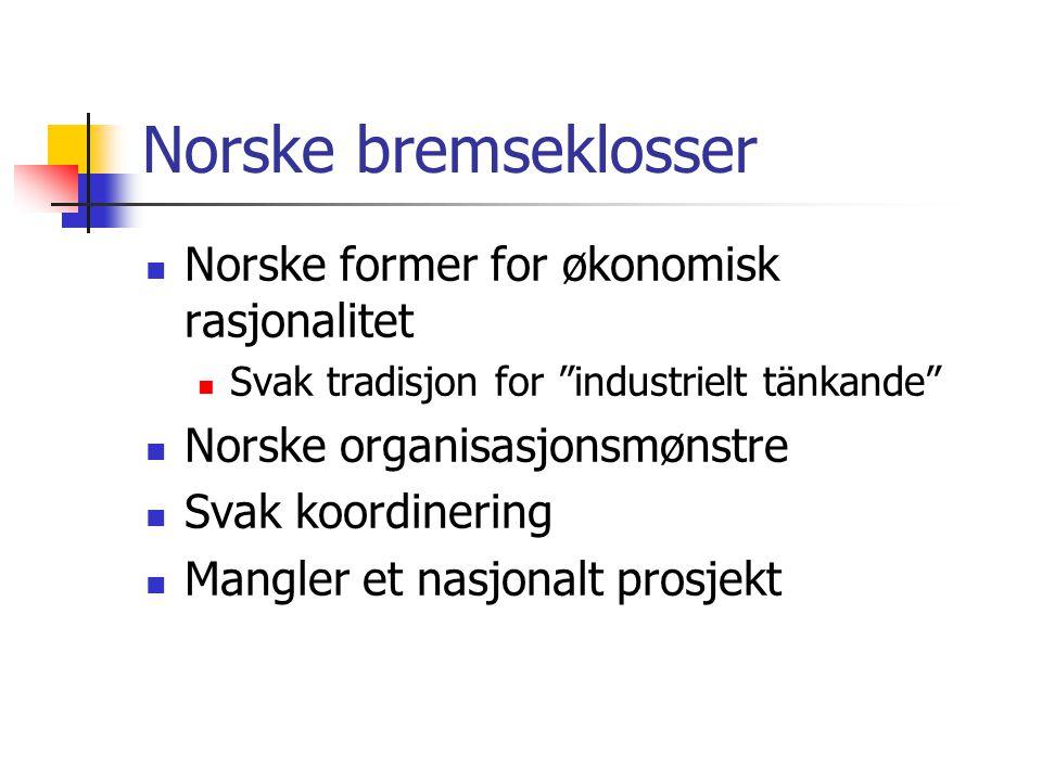 Norske bremseklosser  Norske former for økonomisk rasjonalitet  Svak tradisjon for industrielt tänkande  Norske organisasjonsmønstre  Svak koordinering  Mangler et nasjonalt prosjekt