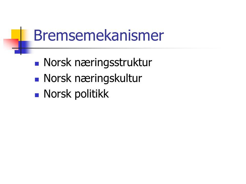 Bremsemekanismer  Norsk næringsstruktur  Norsk næringskultur  Norsk politikk