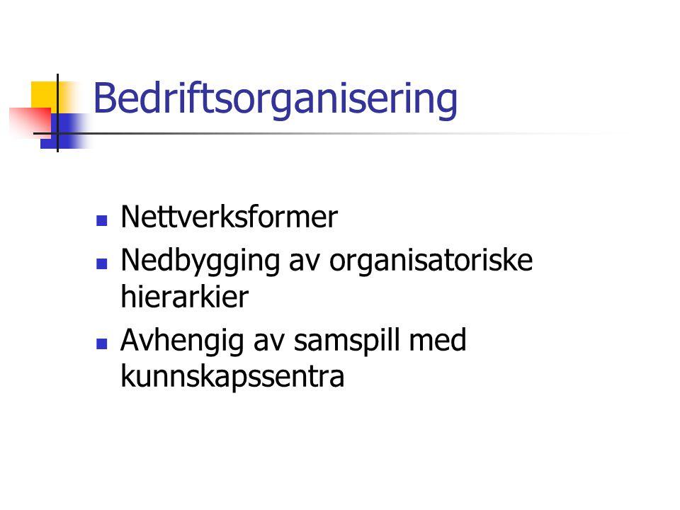 Bedriftsorganisering  Nettverksformer  Nedbygging av organisatoriske hierarkier  Avhengig av samspill med kunnskapssentra