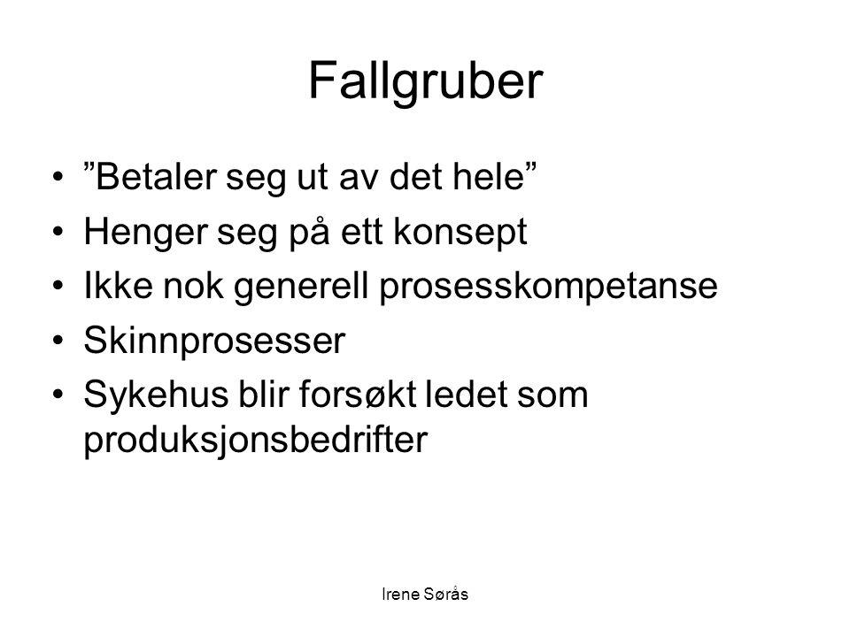 """Irene Sørås Fallgruber •""""Betaler seg ut av det hele"""" •Henger seg på ett konsept •Ikke nok generell prosesskompetanse •Skinnprosesser •Sykehus blir for"""