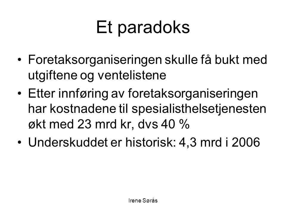 Irene Sørås Et paradoks •Foretaksorganiseringen skulle få bukt med utgiftene og ventelistene •Etter innføring av foretaksorganiseringen har kostnadene