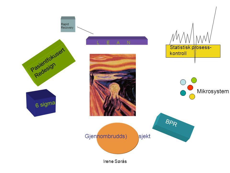 Irene Sørås Pasientfokusert Redesign L E A N Gjennombrudds) sjekt 6 sigma BPR Mikrosystem Statistisk prosess- kontroll Rapid Recovery