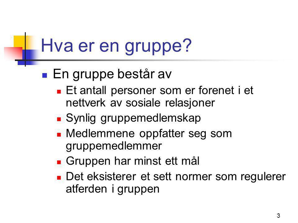 4 Gruppetyper  Primær- og sekundærgrupper  Formelle og uformelle grupper  Medlemsgrupper og referansegrupper