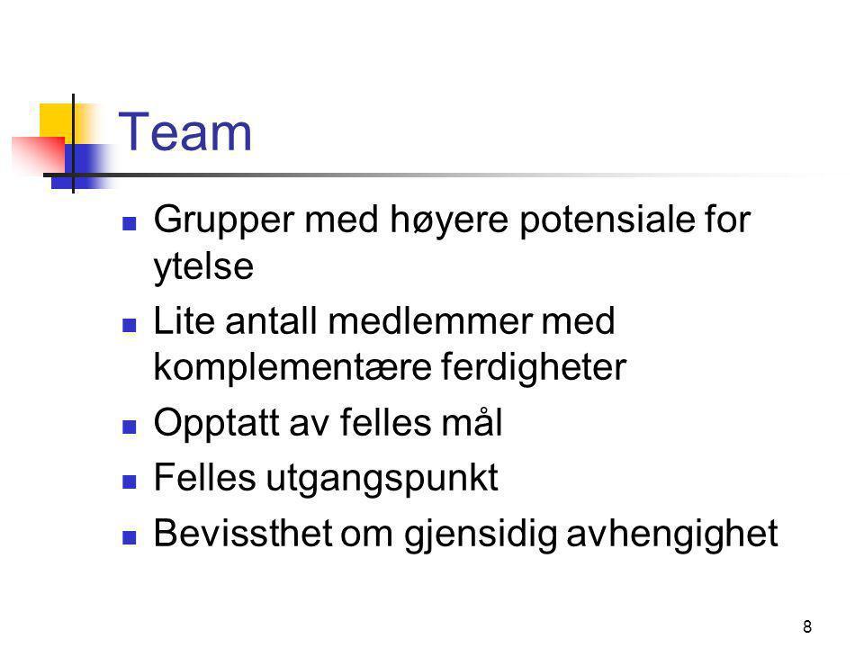 8 Team  Grupper med høyere potensiale for ytelse  Lite antall medlemmer med komplementære ferdigheter  Opptatt av felles mål  Felles utgangspunkt