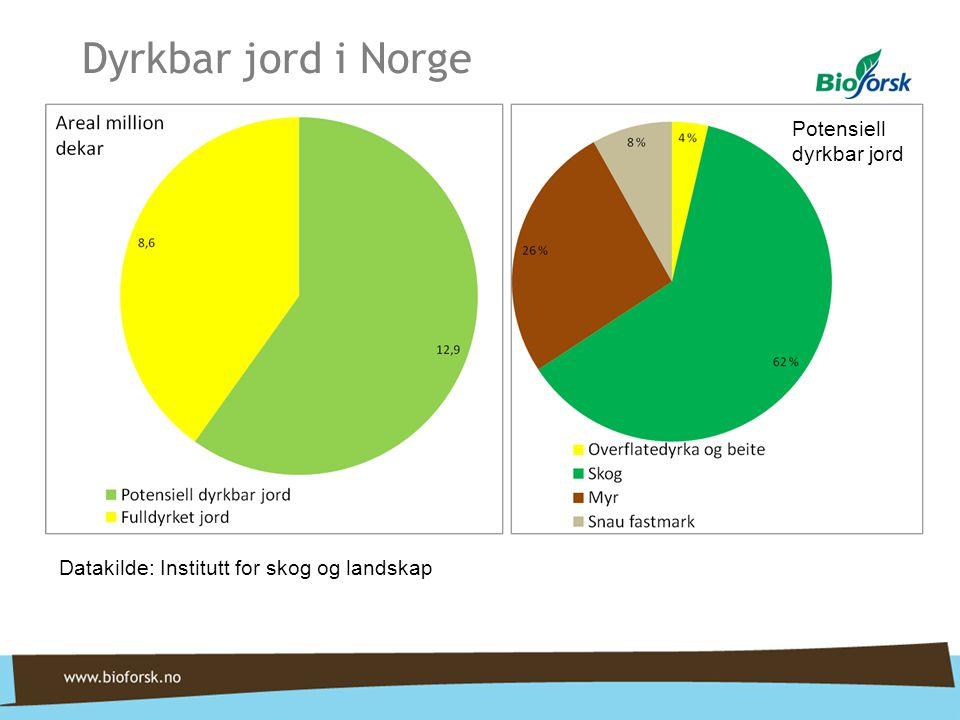 Dyrkbar jord i Norge Potensiell dyrkbar jord Datakilde: Institutt for skog og landskap