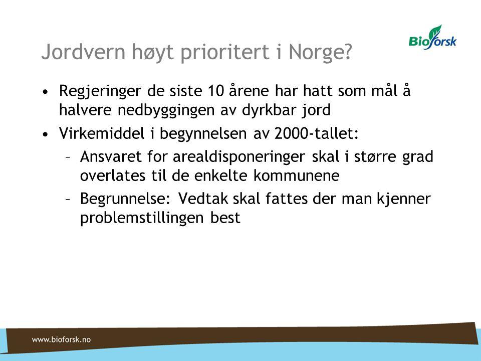 Jordvern høyt prioritert i Norge? •Regjeringer de siste 10 årene har hatt som mål å halvere nedbyggingen av dyrkbar jord •Virkemiddel i begynnelsen av
