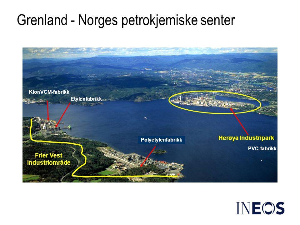 Klor/VCM-fabrikk Etylenfabrikk Polyetylenfabrikk Grenland - Norges petrokjemiske senter Frier Vest industriområde Herøya Industripark PVC-fabrikk