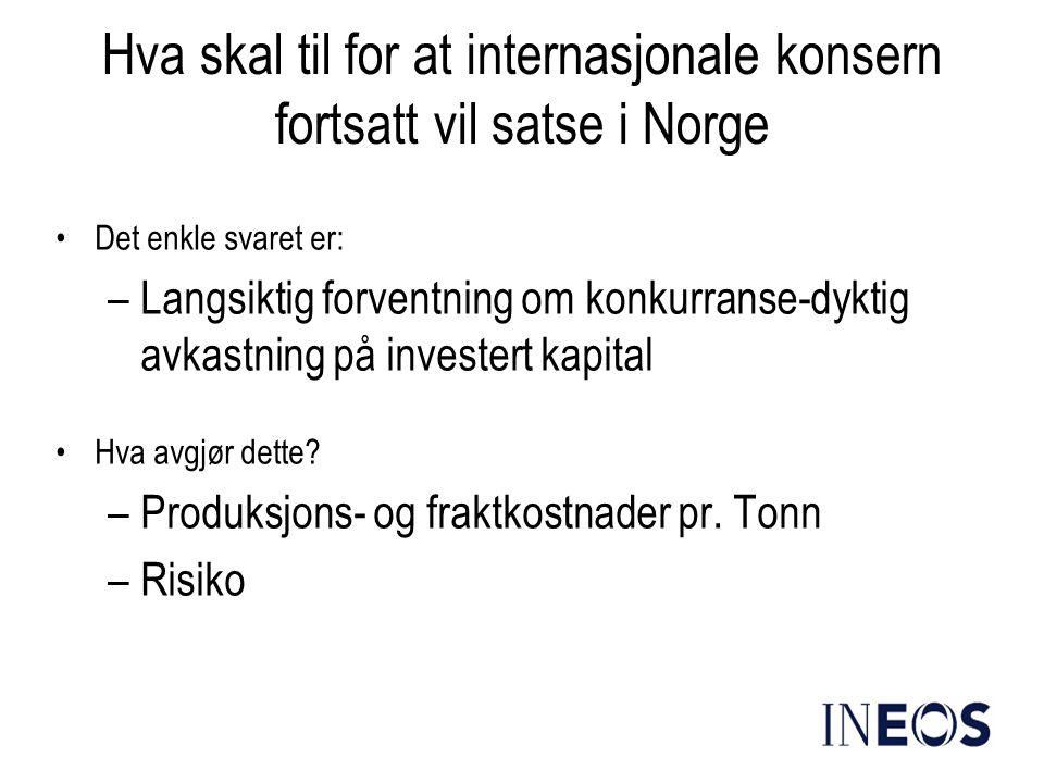 Hva skal til for at internasjonale konsern fortsatt vil satse i Norge •Det enkle svaret er: –Langsiktig forventning om konkurranse-dyktig avkastning p