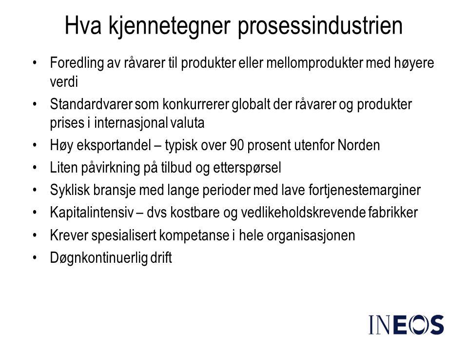 Hva kjennetegner prosessindustrien •Foredling av råvarer til produkter eller mellomprodukter med høyere verdi •Standardvarer som konkurrerer globalt d