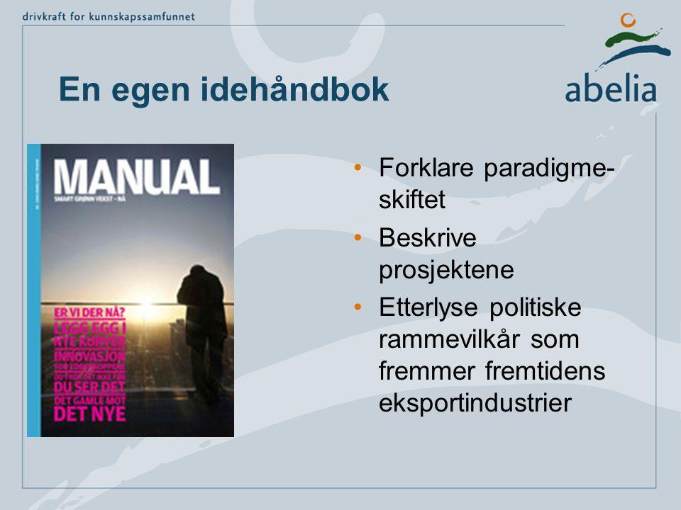 En egen idehåndbok •Forklare paradigme- skiftet •Beskrive prosjektene •Etterlyse politiske rammevilkår som fremmer fremtidens eksportindustrier