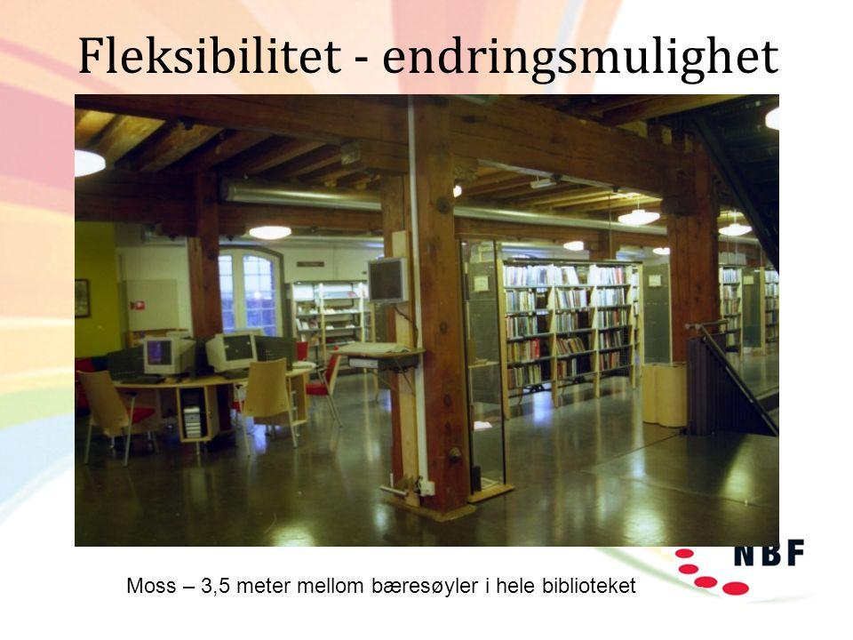 Fleksibilitet - endringsmulighet Moss – 3,5 meter mellom bæresøyler i hele biblioteket