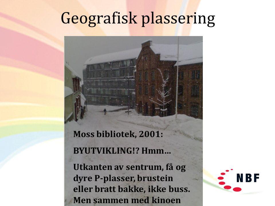 Geografisk plassering Moss bibliotek, 2001: BYUTVIKLING!? Hmm… Utkanten av sentrum, få og dyre P-plasser, brustein eller bratt bakke, ikke buss. Men s