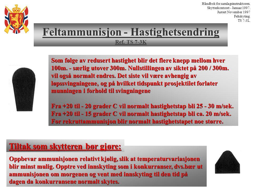 Feltammunisjon - Hastighetsendring Ref. TS 7-3K Håndbok for samlagsinstruktøren. Skytterkontoret - Januar 1997. Justert November 1997 Feltskyting. TS