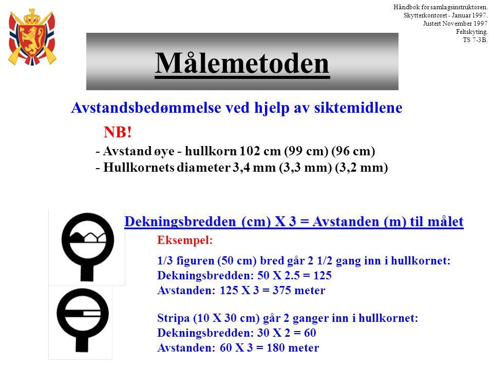 Målemetoden Håndbok for samlagsinstruktøren. Skytterkontoret - Januar 1997. Justert November 1997 Feltskyting. TS 7-3B. Stripa (10 X 30 cm) går 2 gang
