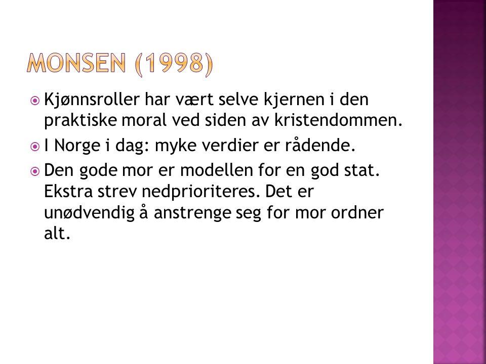  Kjønnsroller har vært selve kjernen i den praktiske moral ved siden av kristendommen.  I Norge i dag: myke verdier er rådende.  Den gode mor er mo